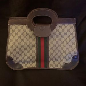 Auth Vintage GUCCI RARE rectangle satchel stripe